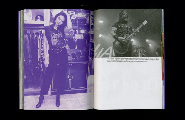 """Left: Kendall Jenner wearing a Slayer T-shirt in 2014. Right: Slayer guitarist Gary Holt with a """"Kill the Kardashians"""" T-shirt a year later."""