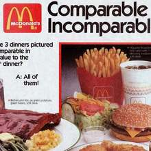 """Comparable Nutrition, Incomparable Taste!"" McDonald's placemat"