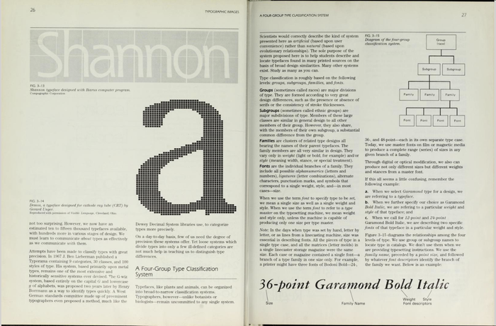Spread from Chapter 3, Typographic Images. The Fundamental Graphics Tools. The figures on the left show , a typeface designed by Janice Fishman and Kris Holmes at Compugraphic, using the Ikarus program, and the letter a from , a typeface designed by Gerard Unger for cathode ray tube (CRT) typesetting on the Hell Digiset composing machine.