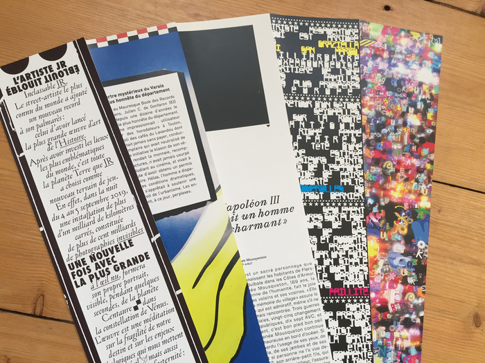 Bookmarks with texts by Baptiste Rossi, designed by (from left to right) Axel Pelletanche (ft.  and ), Mathieu Selvatici (FF DIN), Matthieu Michaut ( and ), Revue Diorama (), and Golgotha.