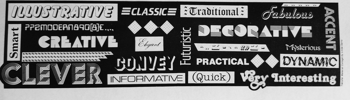 Really delightful interior graphic, featuring many of the mid-80s' greatest typographic hits, like , , , , , , , , or .