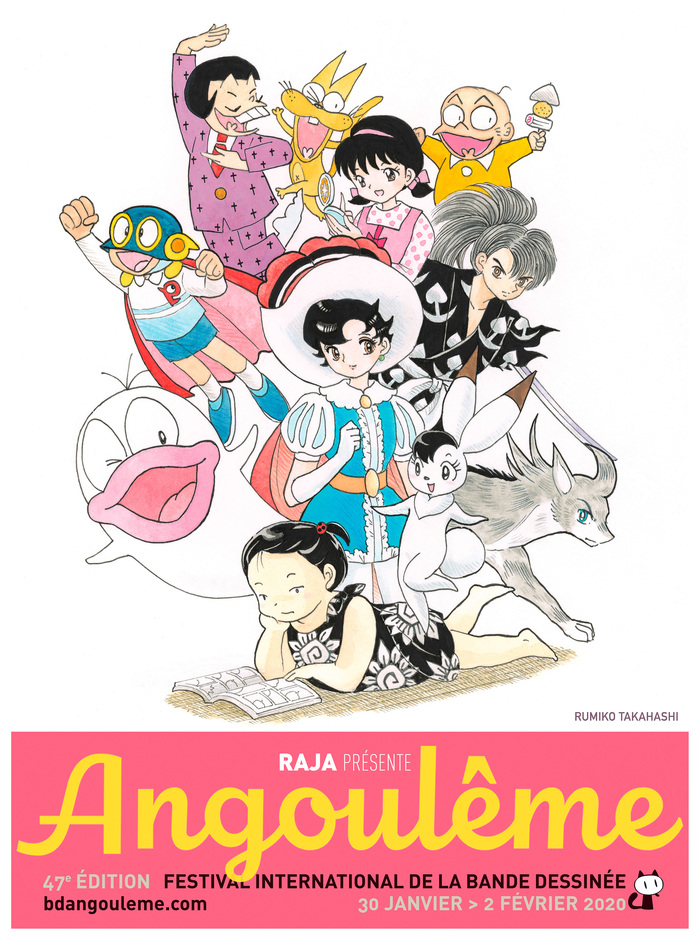 Rumiko Takahashi, surrounded by a motley crew of manga characters, with Sapphire from Osamu Tezuka's Princess Knight at the center.