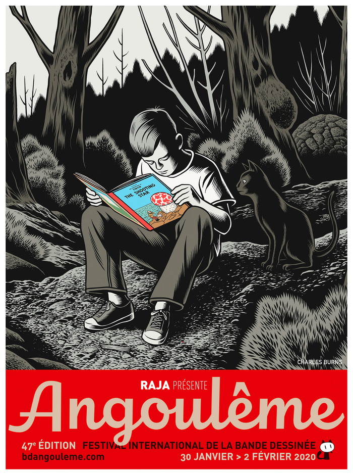 Charles Burns in the woods, immersed in The Shooting Star (L'Étoile mystérieuse), the tenth volume of The Adventures of Tintin by Belgian cartoonist Hergé.