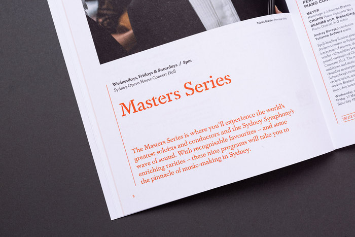 "Detail from the 2019 season brochure, with Dapifer Stencil Medium for titles and intro texts. The small print above uses plain Dapifer, with its more open ""schoolbook"" alternate for a."