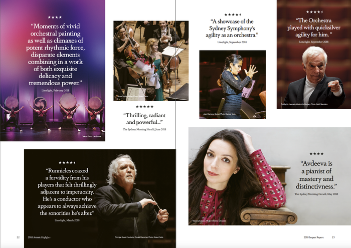 Spread with selected quotes from press reviews, set in center-aligned Dapifer.