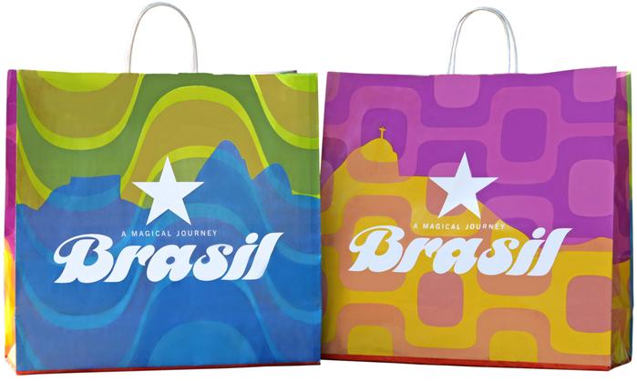 Shopping bags featuring designs by Brazlian artist Kakau Höfke.