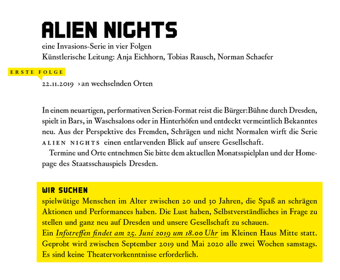 Detail: Corundum Text in interplay with SSD Headline. Other recurring elements of the identity include speech bubbles and the use of yellow and black, which are the colors of the City of Dresden.