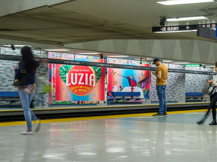 Posters in a Montréal subway station.