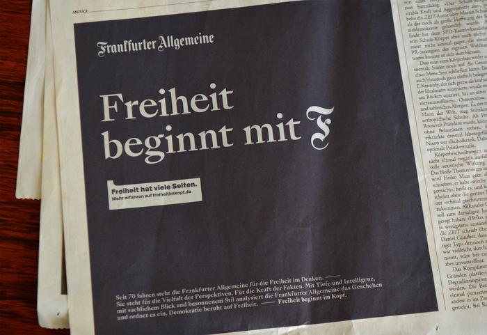 Newspaper ad in Die Zeit, October 2019.