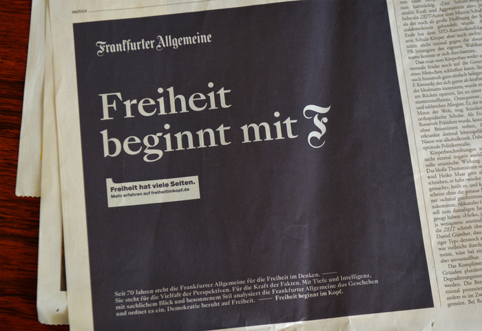 Newspaper ad in Die Zeit, October 2019.