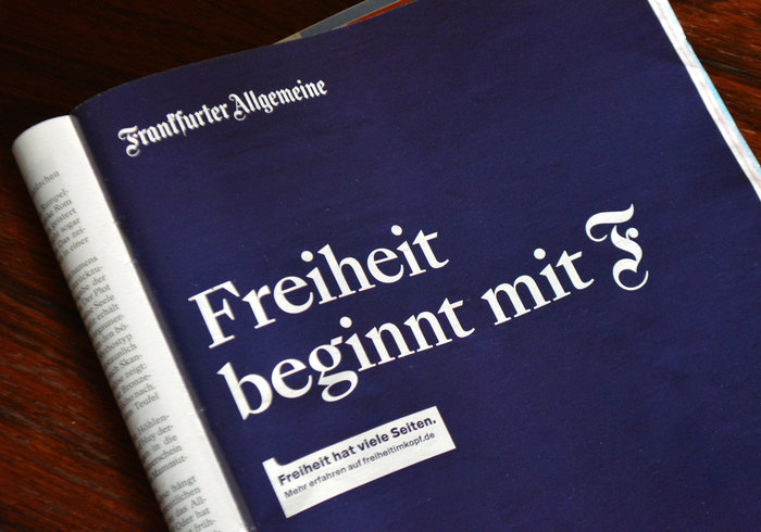 Magazine ad in Der Spiegel, October 2019.