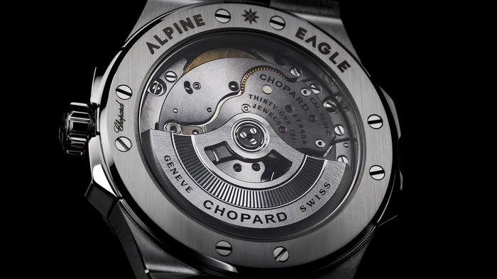 "The Chopard logos (script and sans) use custom-drawn letters. The serif (""GENEVE SWISS"") is ."