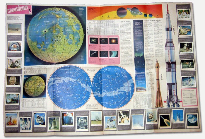 """The free gift in issue one was a fantastic 'Giant Spacefact Wallchart' with the first set of stickers to adorn the edges of the chart. (Other stickers would be given free in following issues, thus hooking the reader into continuing with the comic.)"" — Lew Stringer"