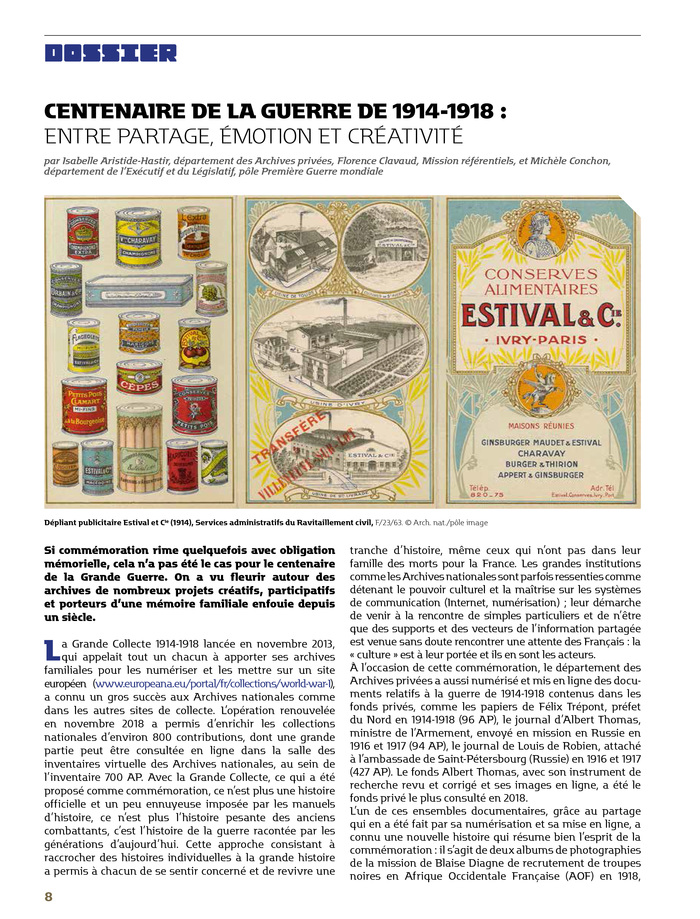 Page from Mémoire d'avenir n° 35, July–September 2019. Graphic design by Léa Pinard.